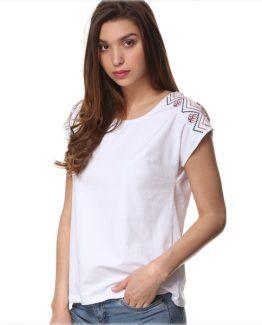 Camiseta algodón bordada Tutto Tempo