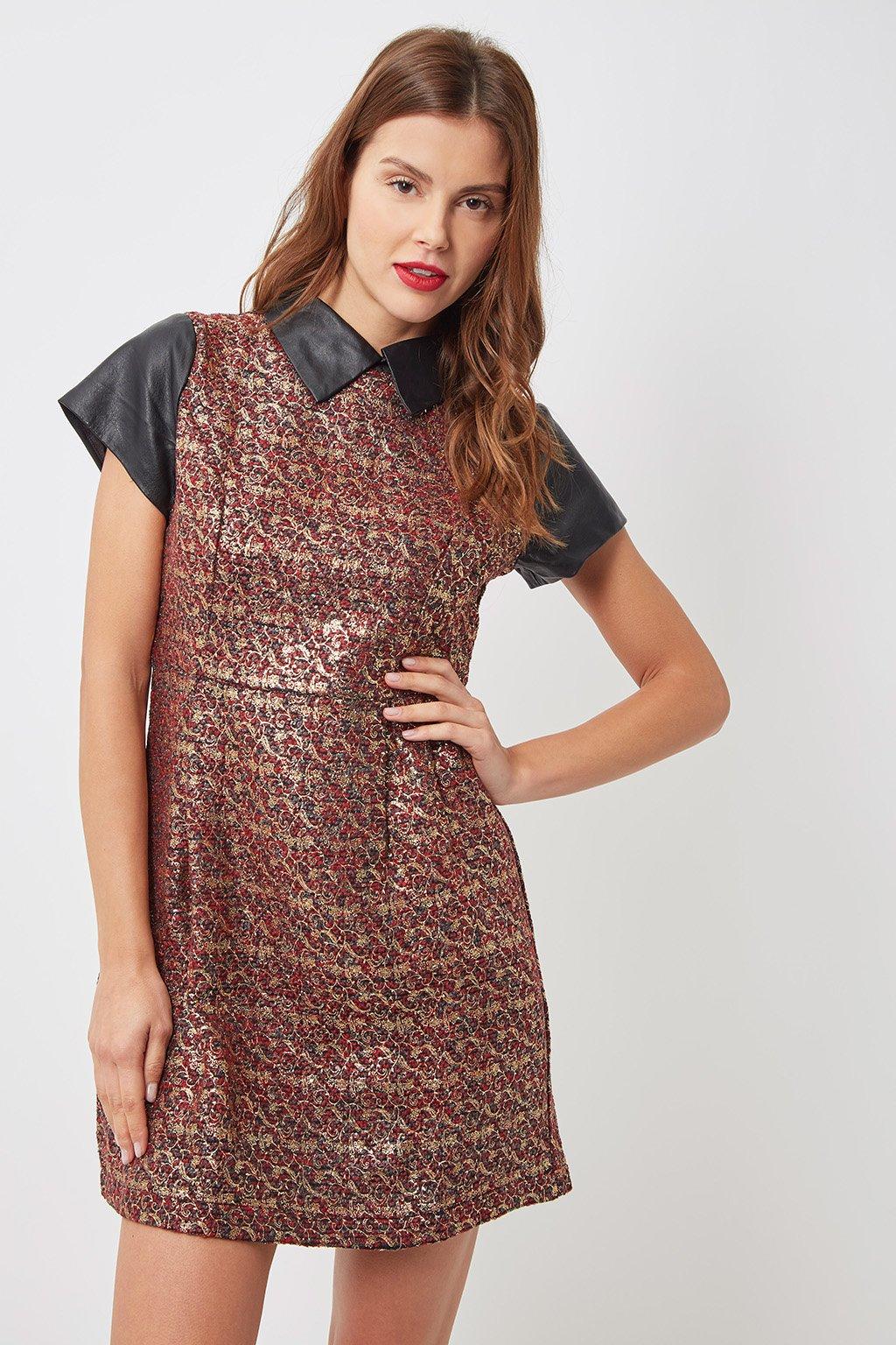 Vestido estampado con polipiel - Tutto Tempo
