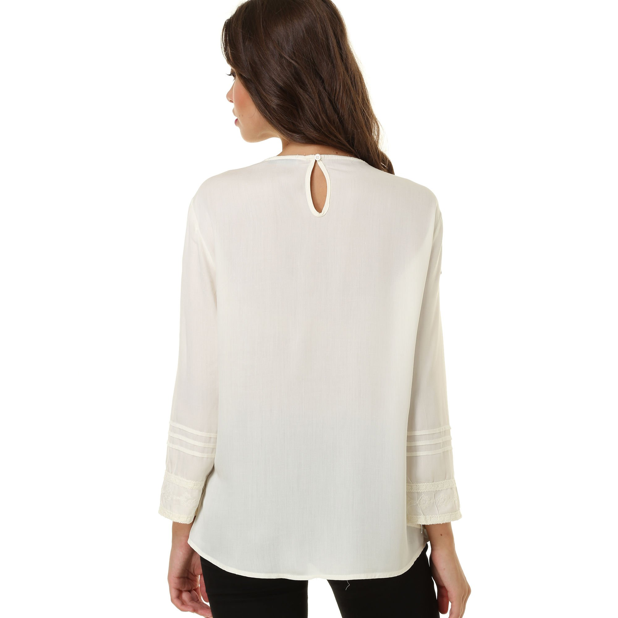 Blusa fluida panel bordado - Tutto Tempo