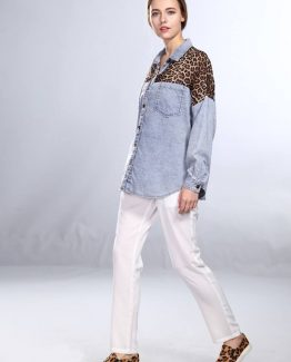 Camisa denim con leopardo - Tutto Tempo