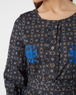 Vestido estampado bordado - Tutto Tempo