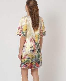 Vestido satinado flores - TuttoTempo