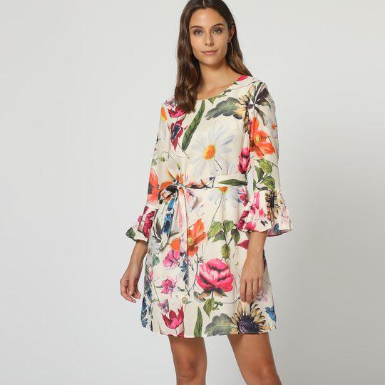 Vestido satinado flores con cinturón - Tutto Tempo