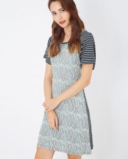Vestido ajustado combinado manga corta - Tutto Tempo