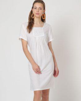 Vestido algodón manga corta - Manga corta