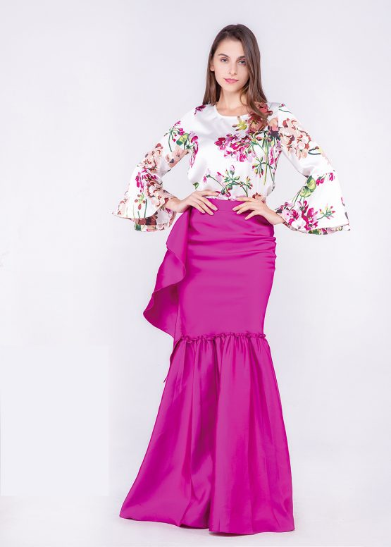 Blusa satinada estampada de flores - Tutto Tempo