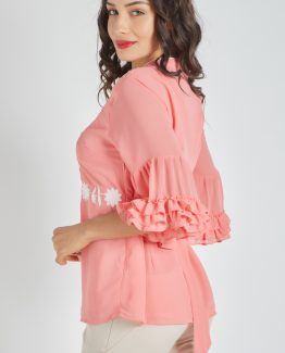 Blusa bordada con cinturón - Tutto Tempo