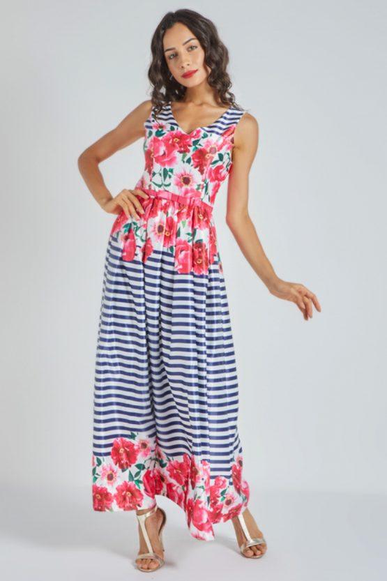 Vestido largo estampado de flores - Tutto Tempo