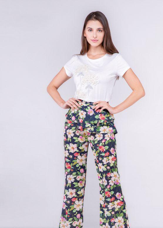 Pantalón fluido estampado de flores - Tutto Tempo