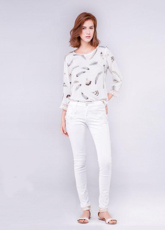 Jeans blanco con bordados - Tutto Tempo