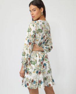 Vestido flores escote de pico - Tutto Tempo