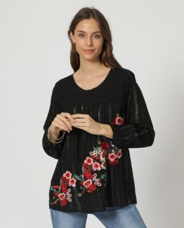 Blusa bordada con brillo - Tutto Tempo
