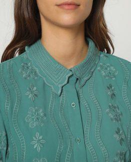 Blusa bordada con cuello clásico - Tutto Tempo