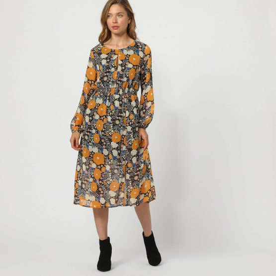Vestido estampado flores - Tutto Tempo