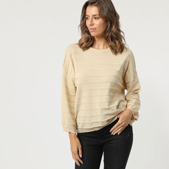 Jersey beige con detalle trenzado